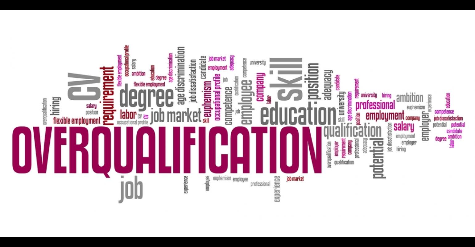 Overqualification - employment issues and concepts word cloud illustration